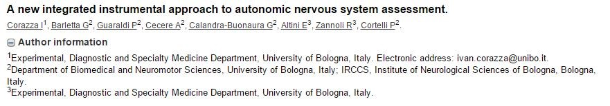 "Published the article ""A new integrated instrumental approach to autonomic nervous system assessment"""