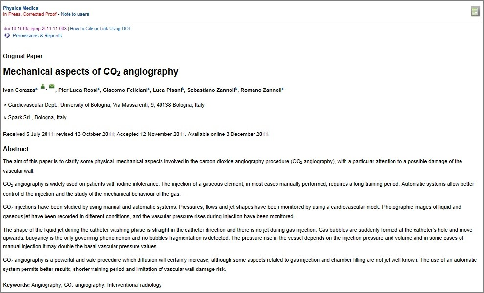 Mechanical aspects of CO2 angiography: technical validation of Angiodroid CO2 injector has been published on Pysica Medica