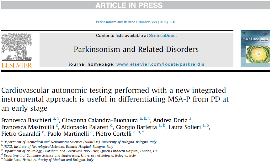 "Published a new Article on ""Parkinsonism and Related Disorders"""